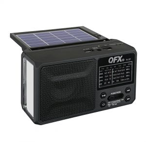 QFX R-37 3-In-1 Rechargeable AM/FM/SW1-SW4 6-Band Solar Radio +Flashlight+USB/SD - CompuBoutique - Miami Florida