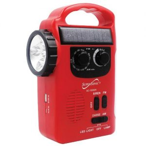 Supersonic 5 Way Emergency Solar/Hand Crank Radio With Flashlight SC1095ER BLACK - CompuBoutique - Miami Florida