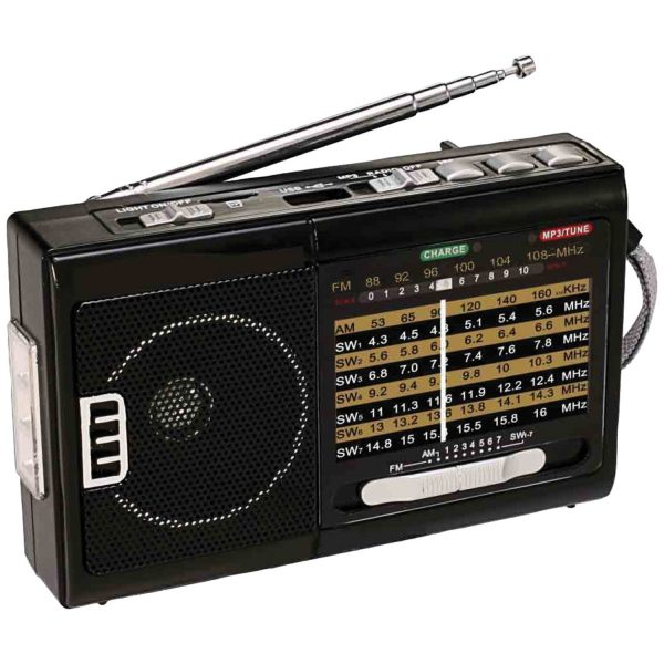 QFX Portable AM/FM 10 Band Radio With Flashlight And USB/TF Player R-39 - CompuBoutique - Miami Florida